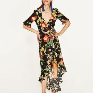 ZARA collection black floral wrap maxi dress